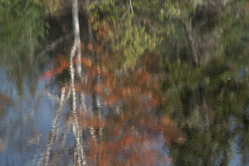I always look for interesting reflections.  Fall is the best.