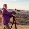 Janice capturing the beautiful sunset at Balanced Rock in Arches National Park