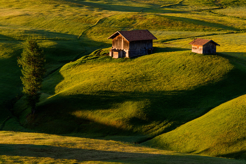 Huts in Alpe di Suisi in morning light