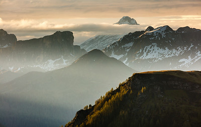 Morning in the  Dolomites mountains
