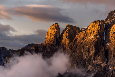 Sella mountain in clouds