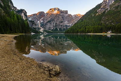 Lago di Braies in morning light