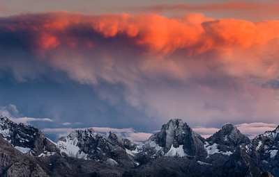 Mountains and clouds at Tre Cime di Lavaredo