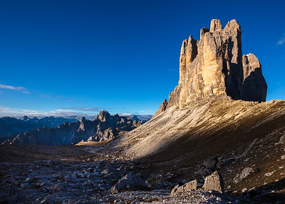 Tre Cime and Cadini peaks in morning light