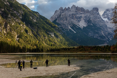 Some of the photographers in the workshop group at Lago di  Landro