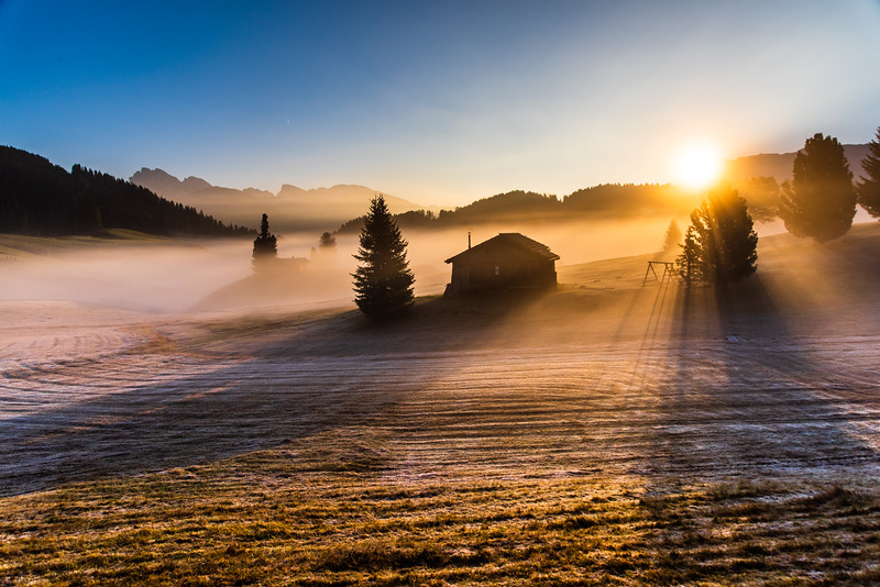 First sunlight in Alpe di Siusi