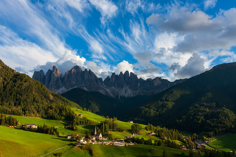 Santa Maddalena with clouds, Dolomites