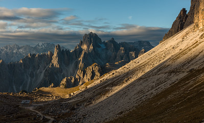 Morning at Tre Cime with Cadini Peaks