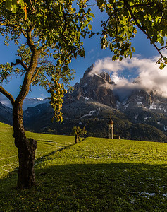 Dolomites chuch in the mountains