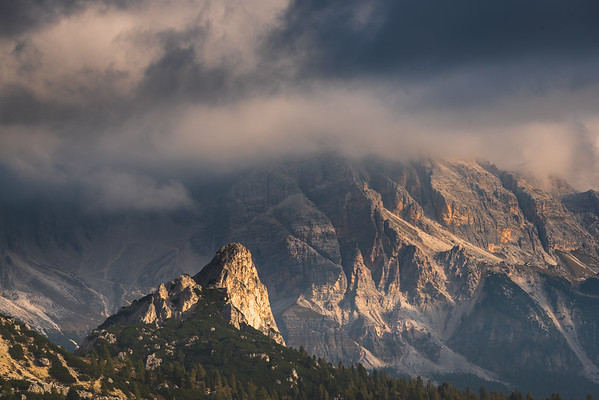 Mountain peaks in morning light