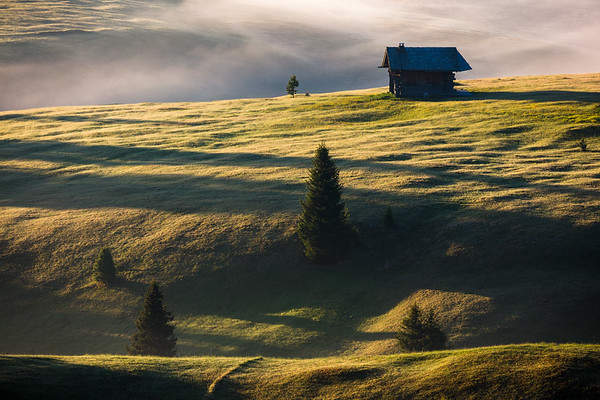 Lonely house in morning light