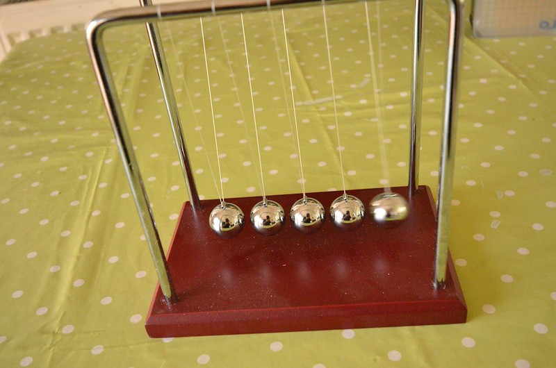 newtons cradle showing how blur with side to side motion