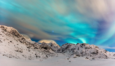 Northern lights and clouds