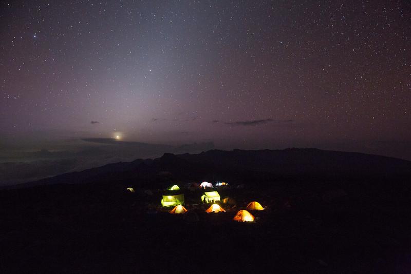 Shira 2 Campsite, Night 3 enroute to Mount Kilimanjaro's Uhuru Peak.