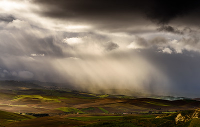 Rain and light on Sicilan landscape