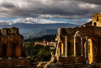 Greek Theater in the light with Etna