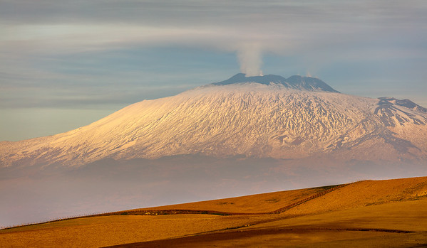View of Etna in afternoon before the eruption
