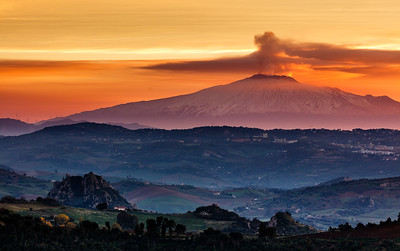 Morning in Sicilian landscape with Etna active