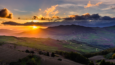 Sicilian landscape at sunset