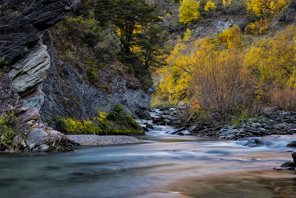 Fall colors reflected on the Arrow river near Arrowtown.