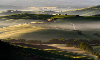 Morning sun on rolling hills