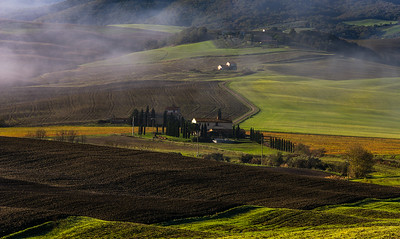 Tuscan landscape with fog