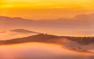 Tuscany morning with fog