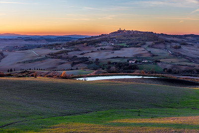 View of Pienza at sunset