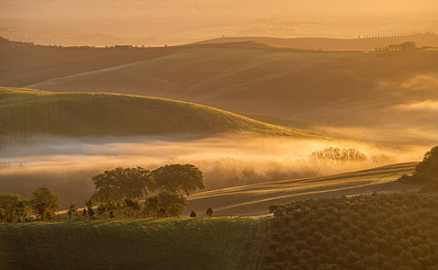 A new morning in Val d'Orcia in Tuscany