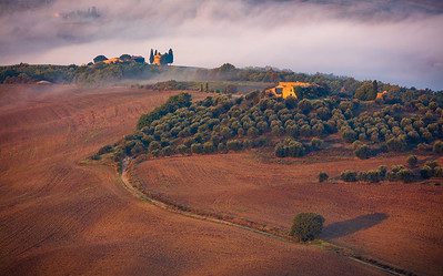 Morning fog in Tuscan Val d'Orcia