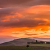 Colorful sunset in Tuscany