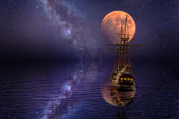 Moonlit Ship Composite
