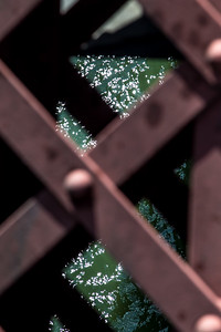 Water glistening through bridge structure. Focused on water. ISO 100, 100mm, f/8, 1/200s.