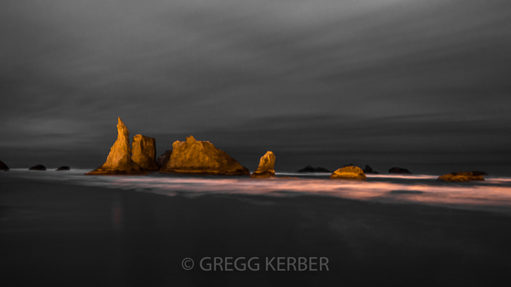 Light painted sea stacks at Bandon Beach