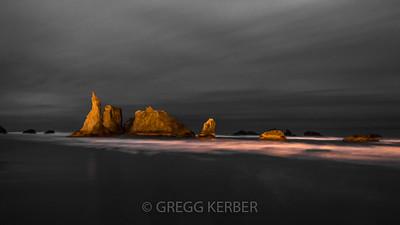 Light painted sea stacks at Bandon Beach