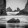Sea stacks at Bandon Beach (B&W)