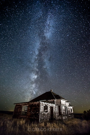 Milky Way over abandoned house