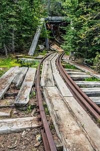 Cornucopia - rail into old mine shaft