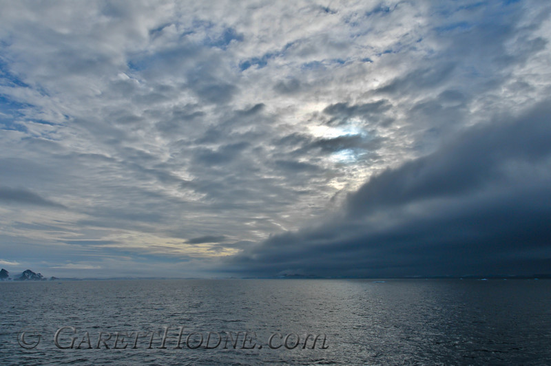 Approaching a fog bank in the Bransfield Strait