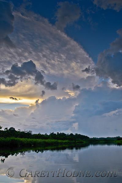 Amazon sunset on a blackwater (varieza) lake.