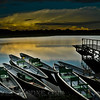 Canoes by the dock at Napo Lodge, Amazonia. Amazonia, Ecuador
