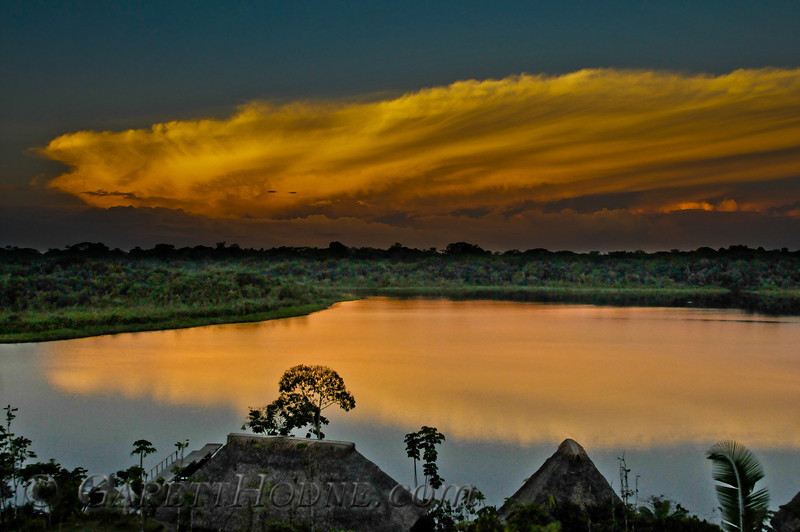 Sunset from the Napo Lodge