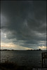 Line of storm clouds over the Indian River Lagoon.  Riverview Park in Sebastian, Florida.