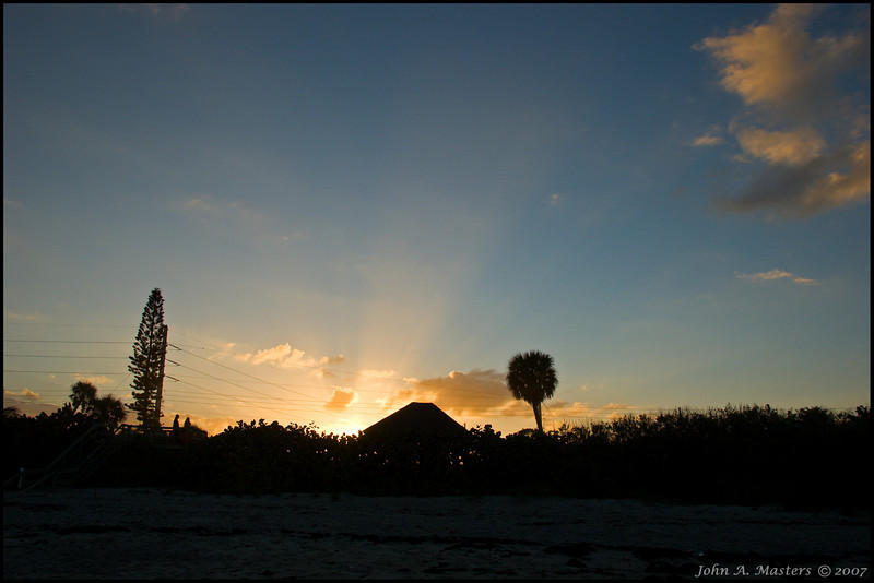 Sunset as seen from Ocean Park in Melbourne Beach, Florida.