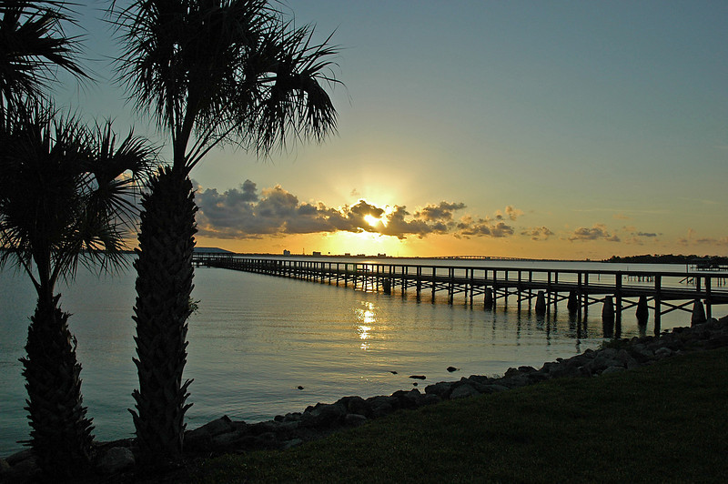 Almost sunset, the pier at Rykman Park, Melbourne Beach, Florida.