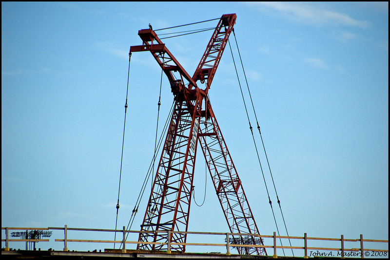 Crane on new office building along Crane Creek in Melbourne, Florida.