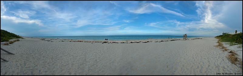 Panorama of the beach on the Atlantic Ocean at Ocean Park in Melbourne Beach, Florida.