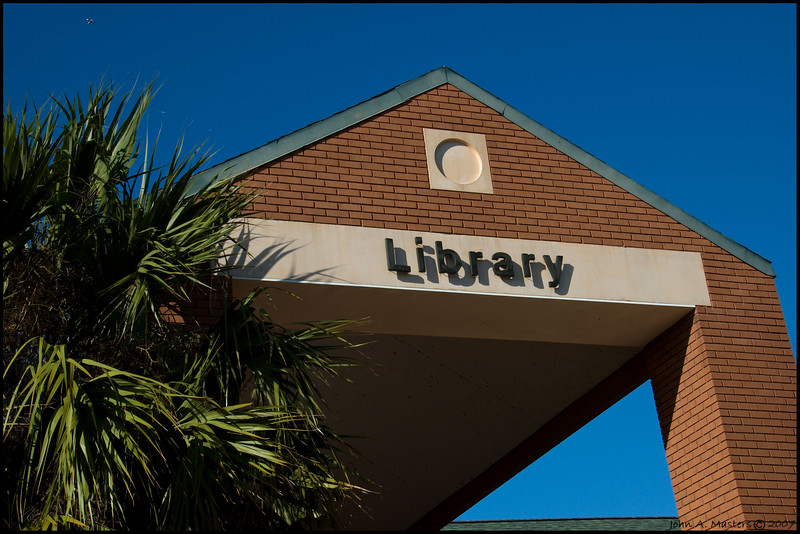 Above the front entrance of the Fee Avenue branch of the Brevard County Public Library in Melbourne, Florida.