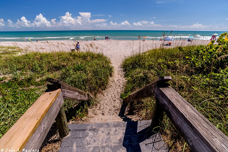 Beach access from boardwalk.  Indialantic, Florida.