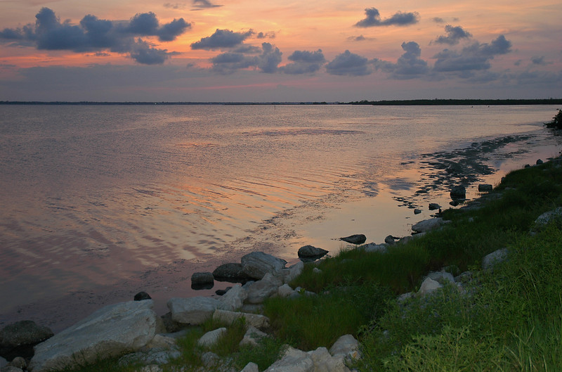 After sunset, from 'the beachside' looking toward the Florida mainland.  About 2 miles south of Sebastian Inlet.